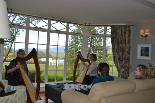 Janine & Susan playing their harps in Ireland