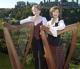 Janine and Susan with their harps