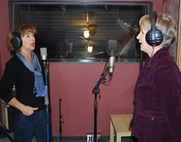 Susan and Janine in the recording studio for vocal tracks